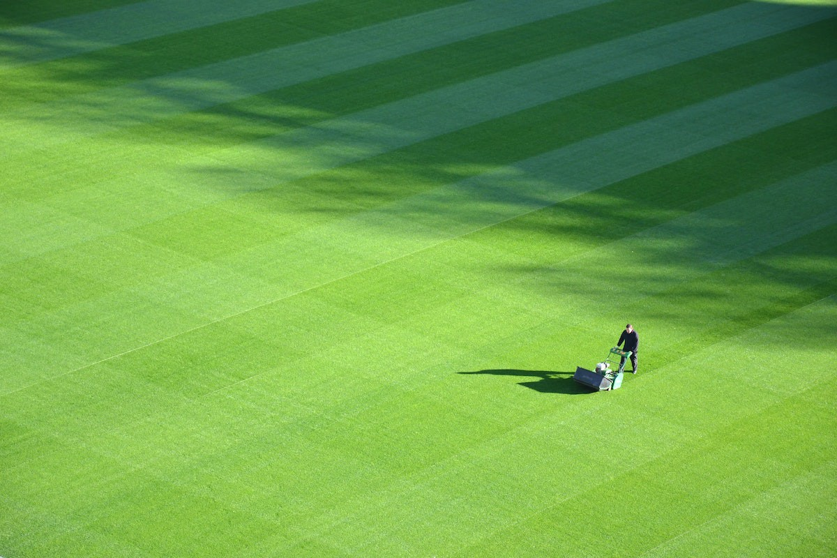 Picture of a person with a push mower, mowing a very large lawn.