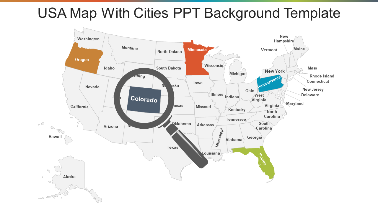 USA Map With Cities PPT Background Template