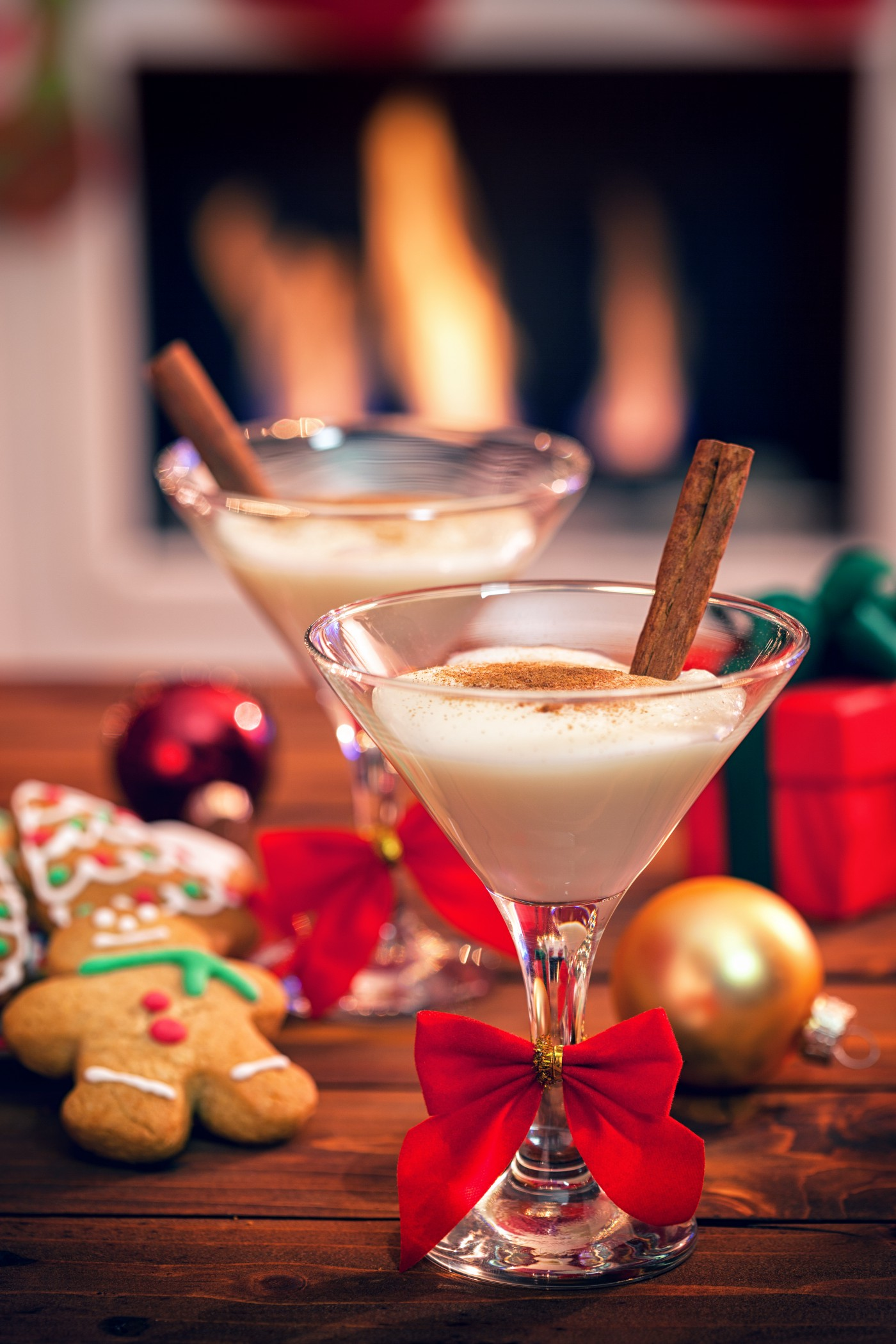 Egg nog by the fire.