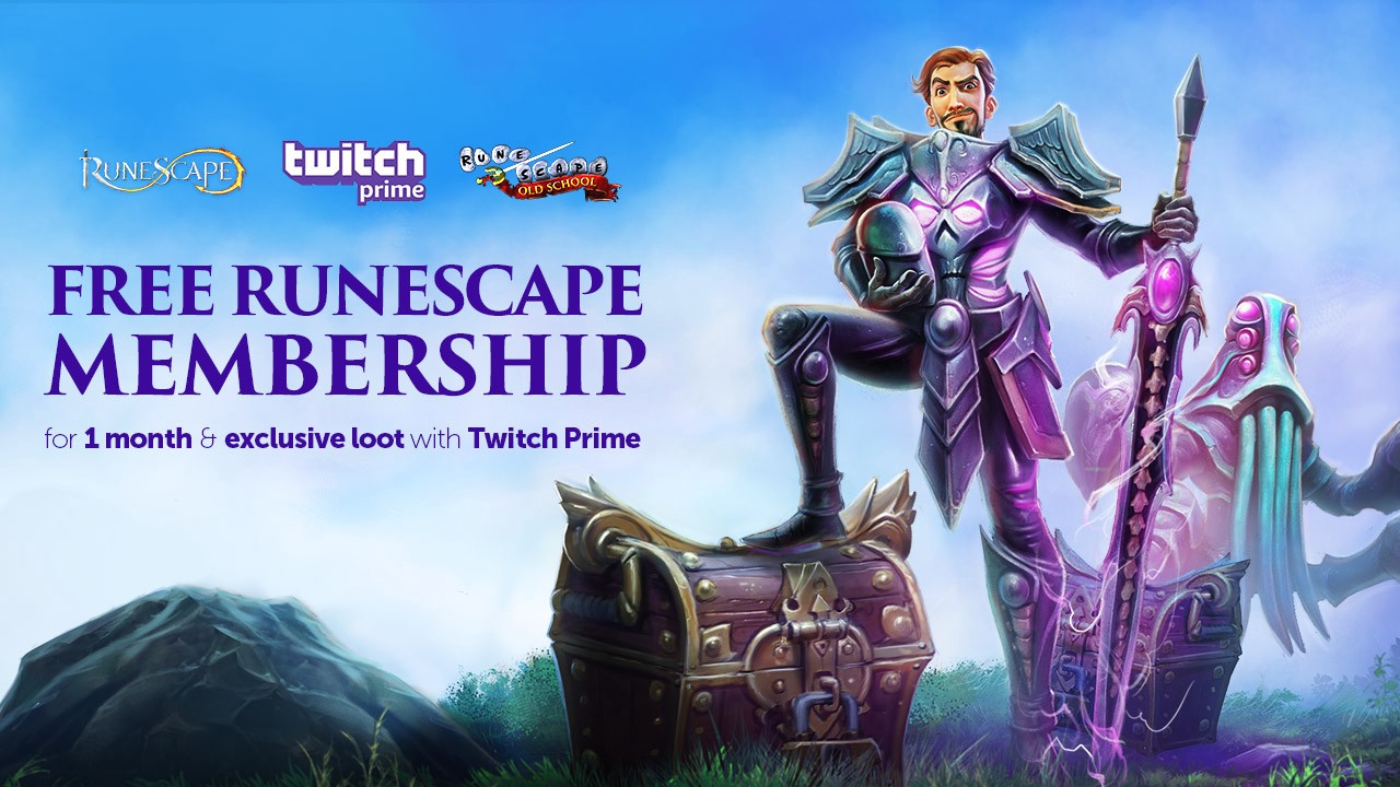 Twitch Prime members, get a 1 month membership to RuneScape and