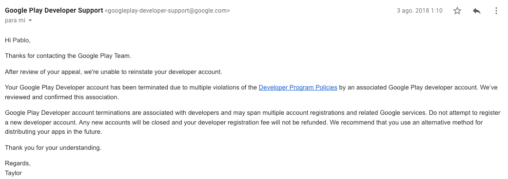 Google just terminated our start-up Google Play Publisher Account on