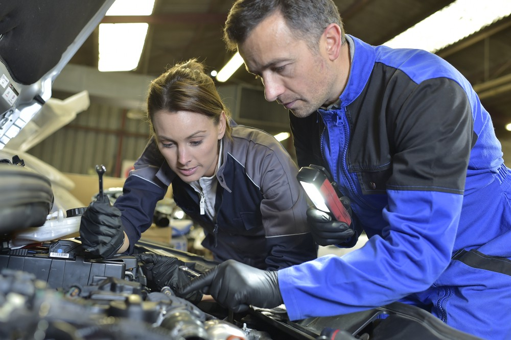 Image of mechanic training an apprentice