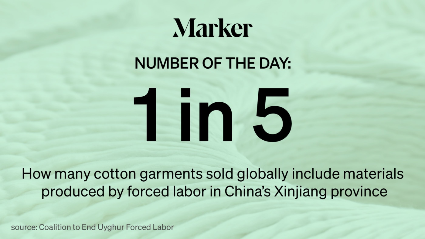 1 in 5—How many cotton garments sold globally include materials produced by forced labor in China's Xinjiang province