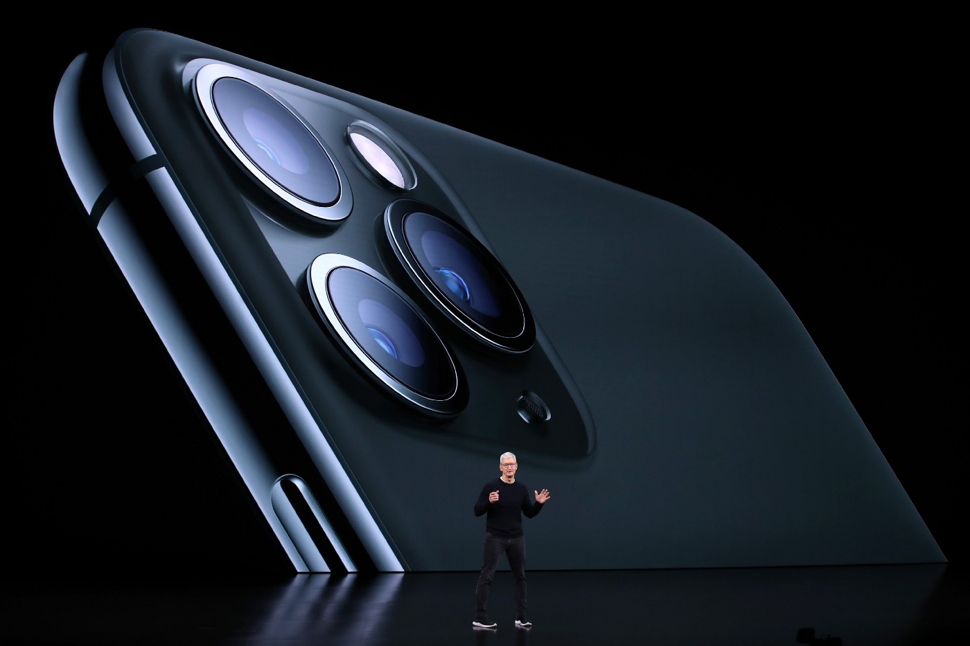 Apple CEO Tim Cook unveils the iPhone 11 Pro during his keynote address during a special event on September 10, 2019,
