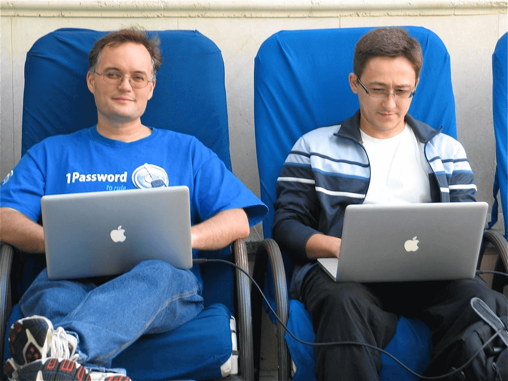 Happy Founders Coding. Yours truly is on the left and the illustrious Roustem Karimov is on the right.
