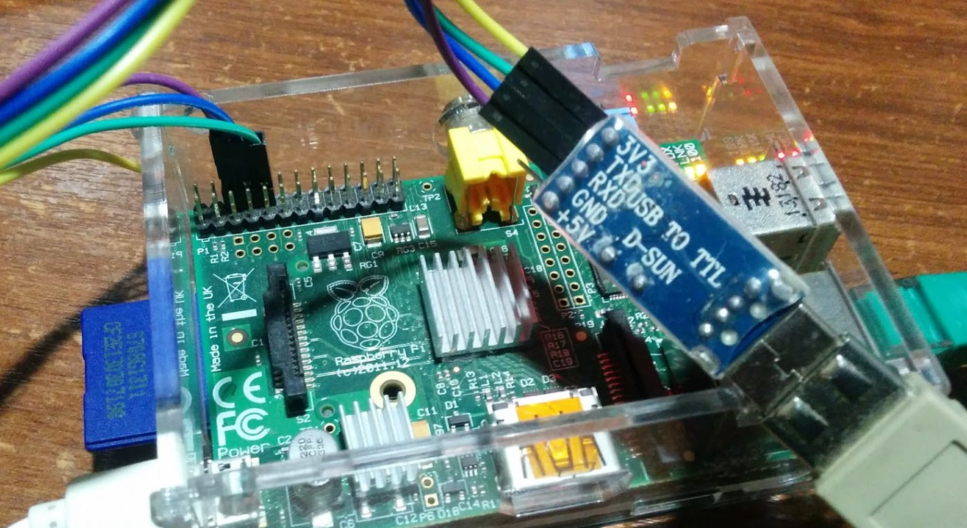 Connect a UART-USB Adapter to the Raspberry Pi