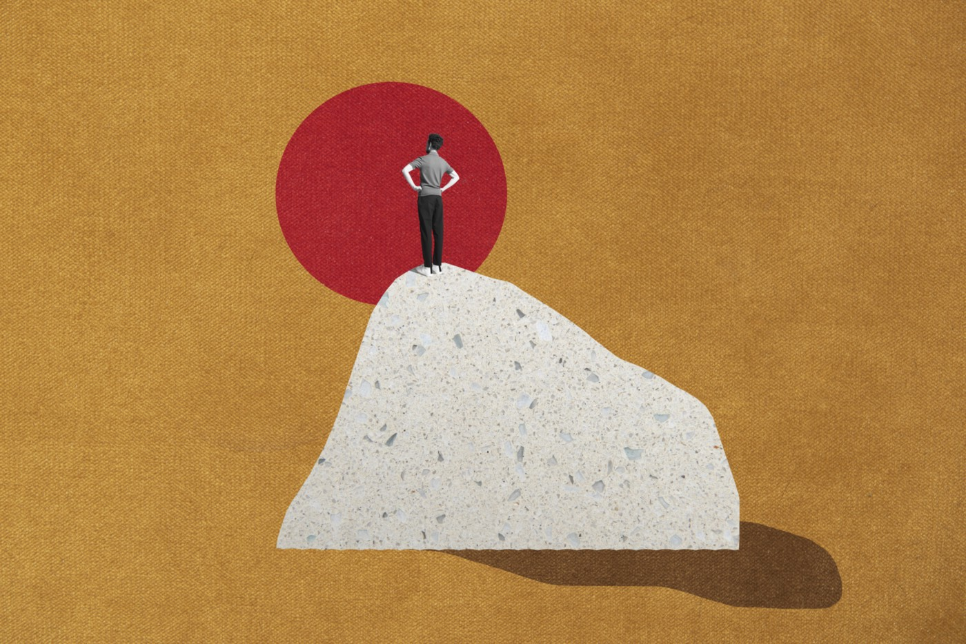 Graphic of a person standing on top of a hill/mountain overlooking a red sun.
