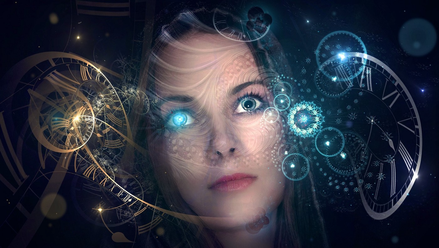 A woman's face, overlaid with gold and blue images of cogs, clocks, and spirals.