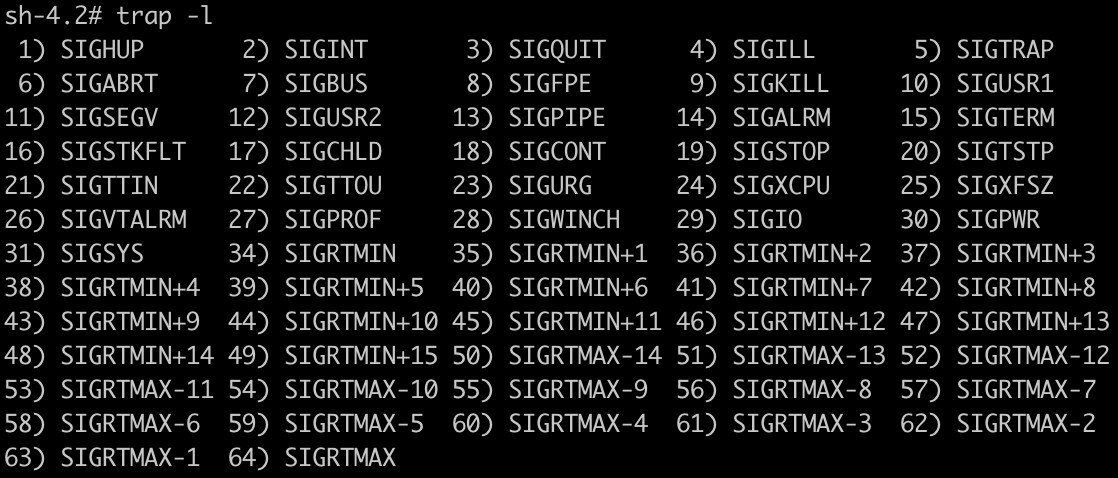 List of signals that can be used on Bash / Shell trap