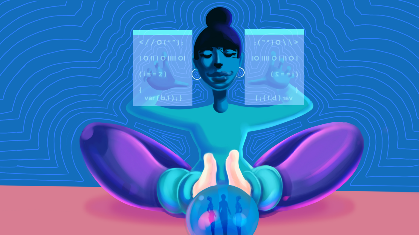 Illustration of a woman sitting in from of two screens as she writes code.