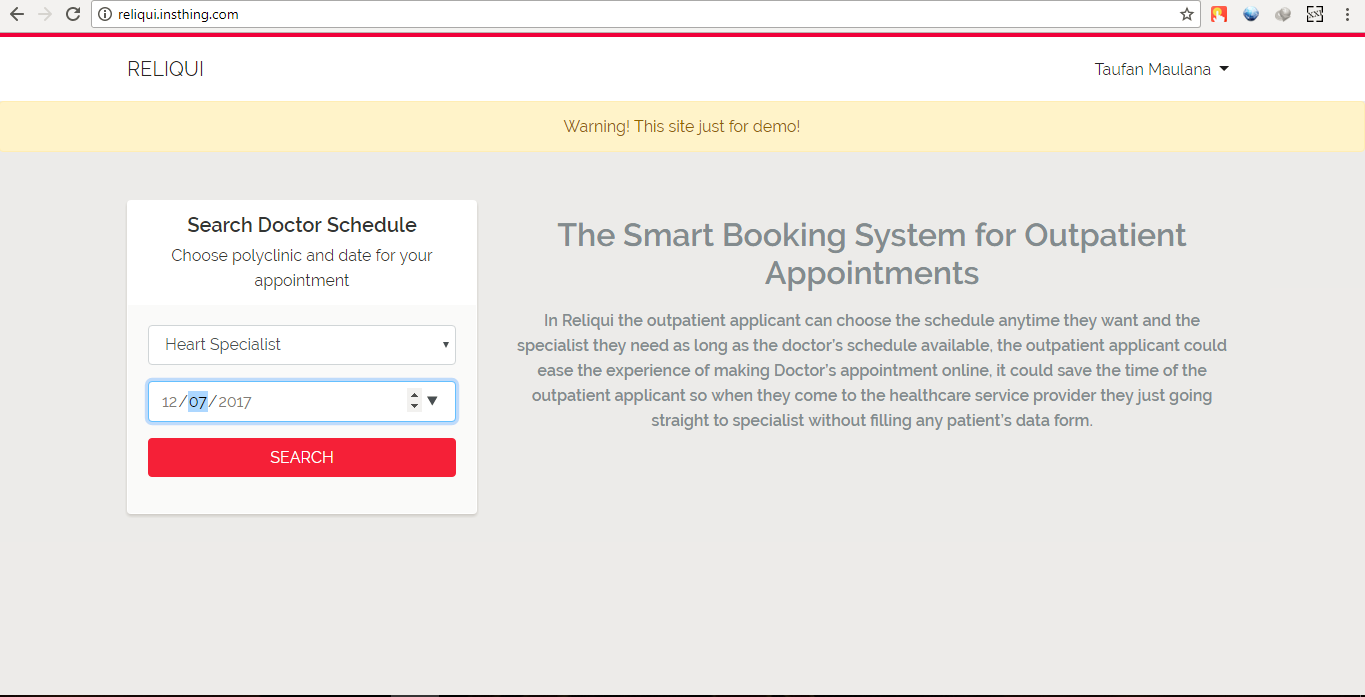 Introducing Reliqui the revolutionary outpatient booking appointment