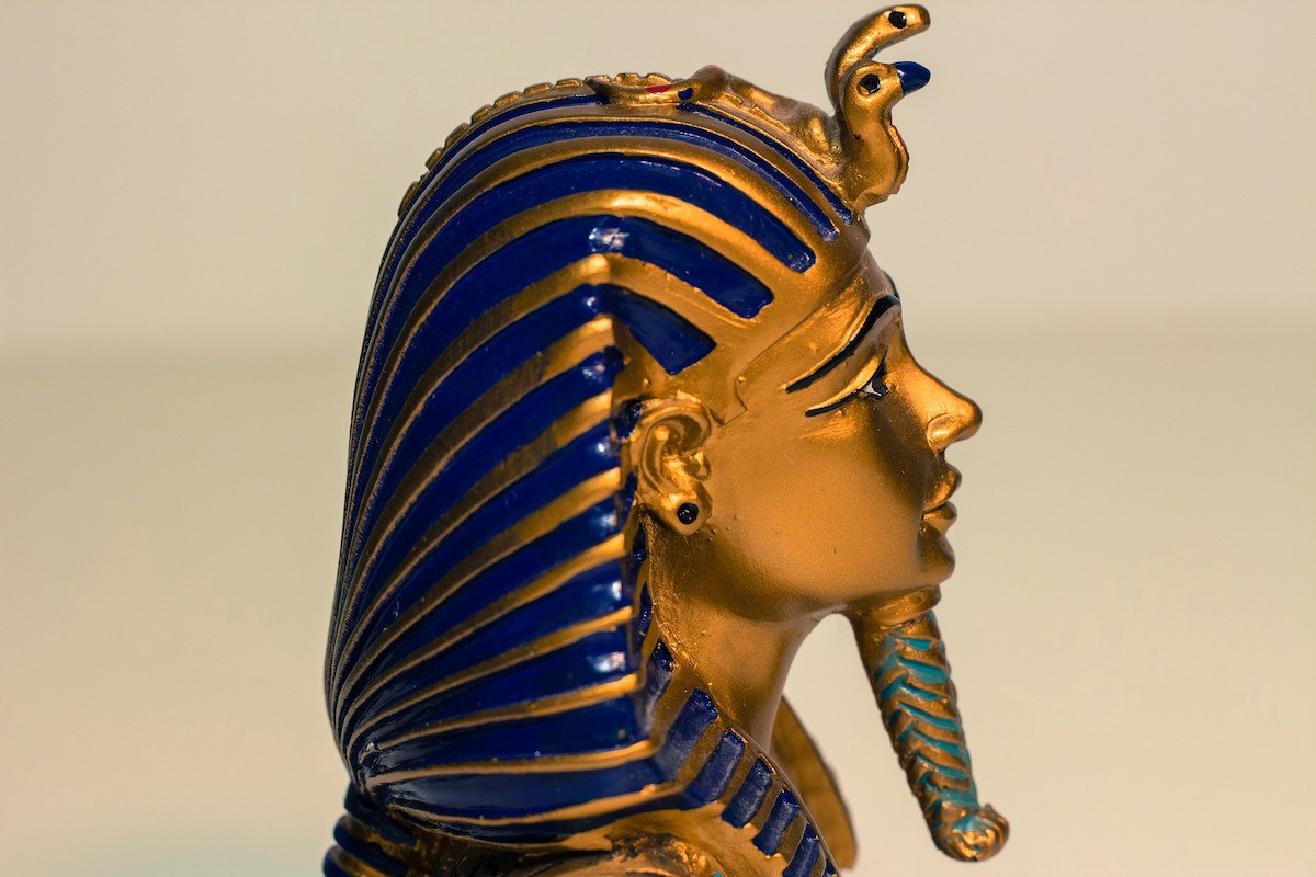 The profile of Tutankhamun's golden face. The turquoise beard is noticeable. It is like a protruding stick.