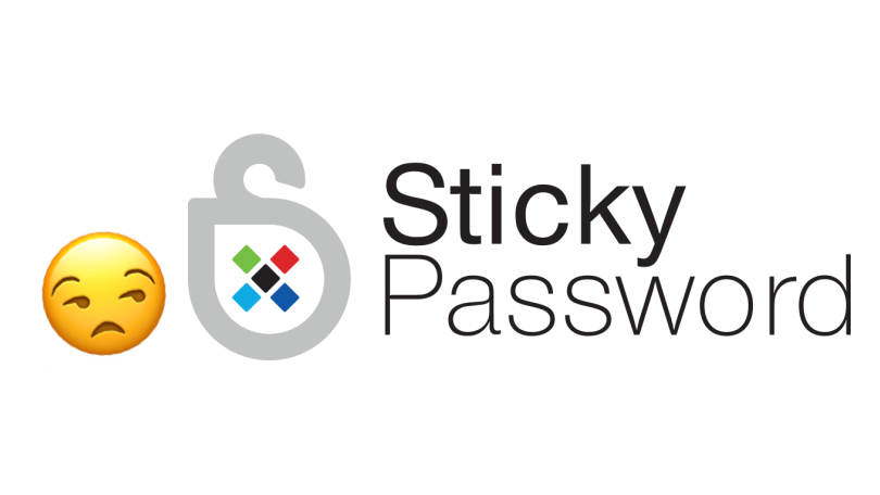 "Sticky password's logo with a ""meh"" emoji next to it"