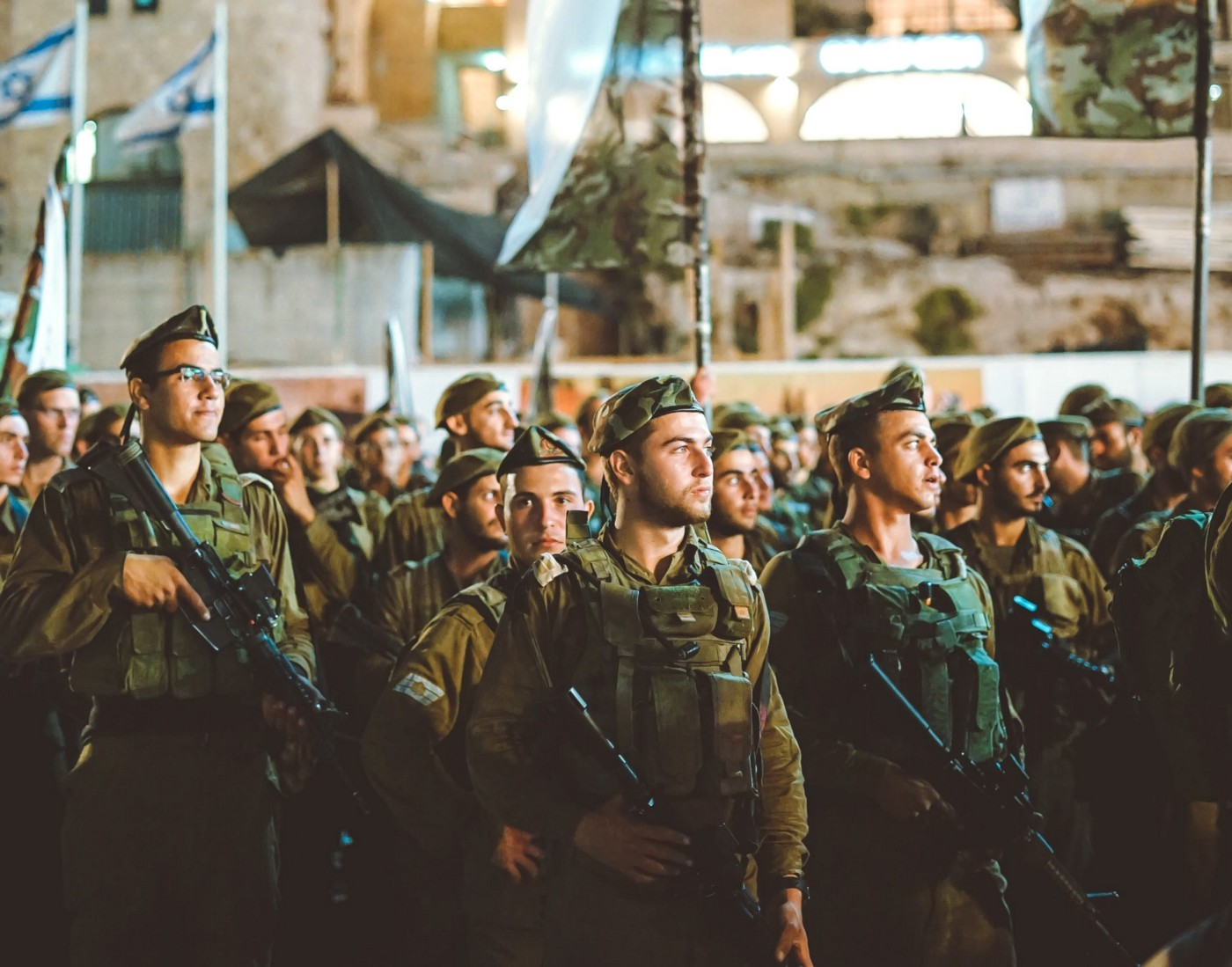 Group of Israeli soldiers stand at attention in Jerusalem