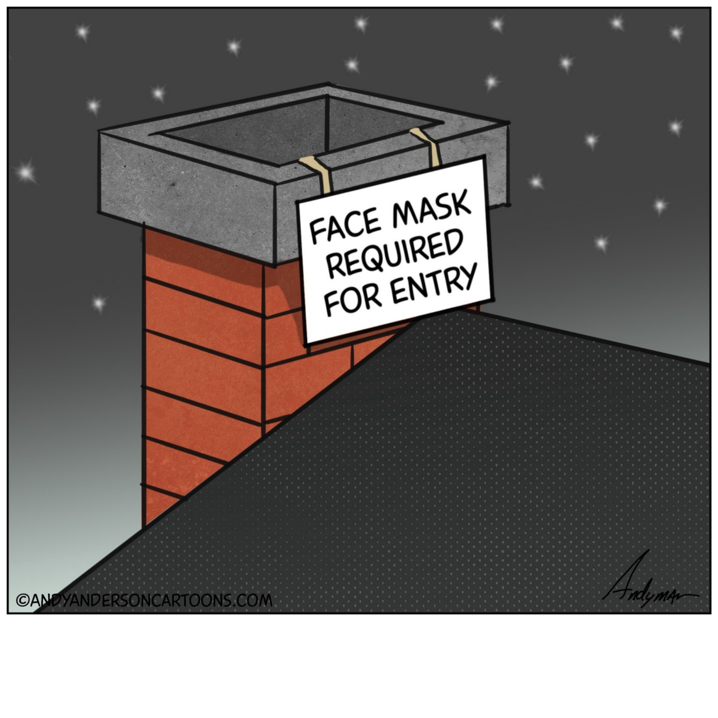Cartoon with a face mask sign required on a chimney for Santa