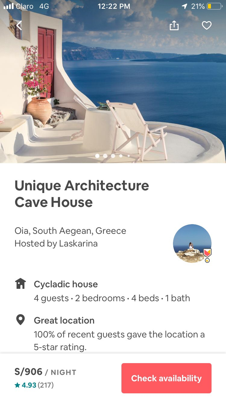 Screenshot of Airbnb website showing hierarchy by alignment
