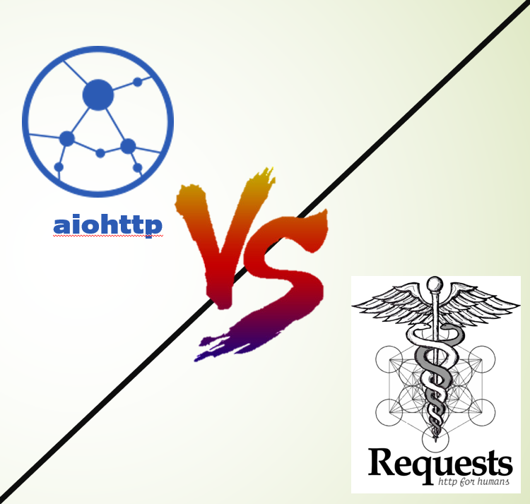 "logos and wordmarks of Requests and aiohttp, separated by ""vs"""