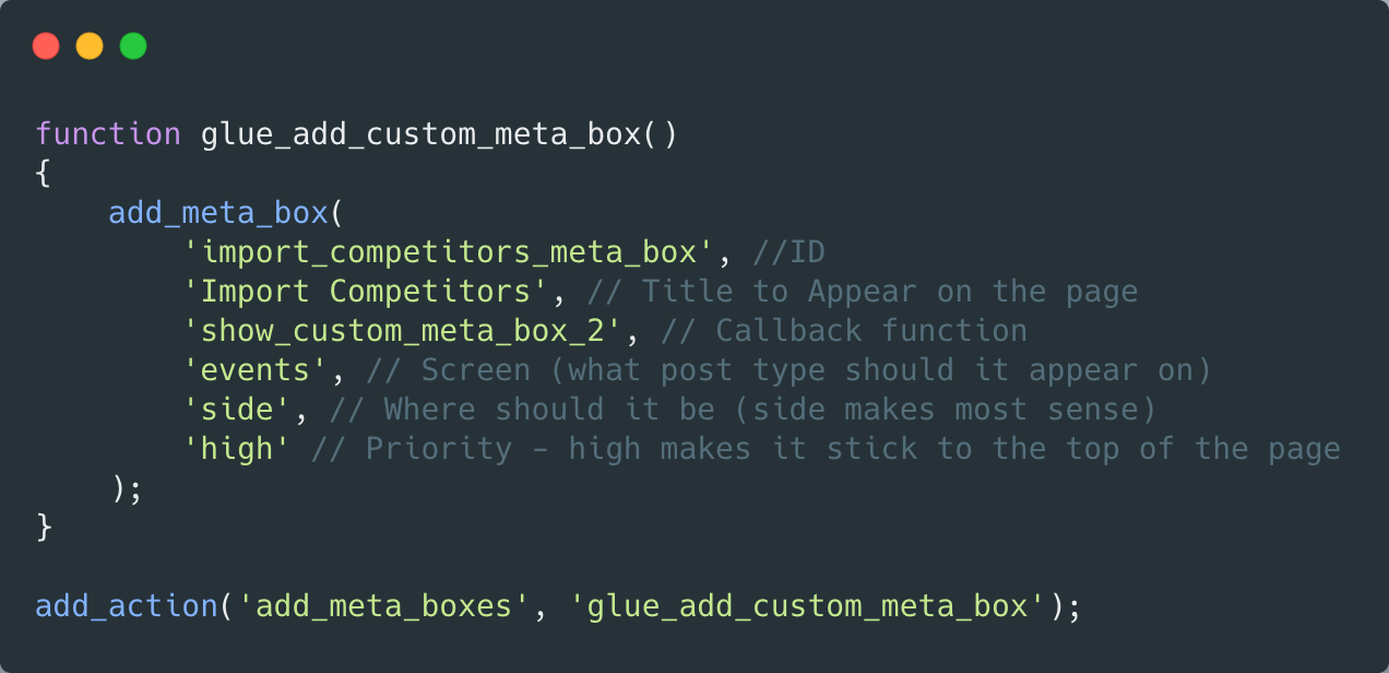 A snippet of code which shows adding a metabox—full copyable code at the end of the article