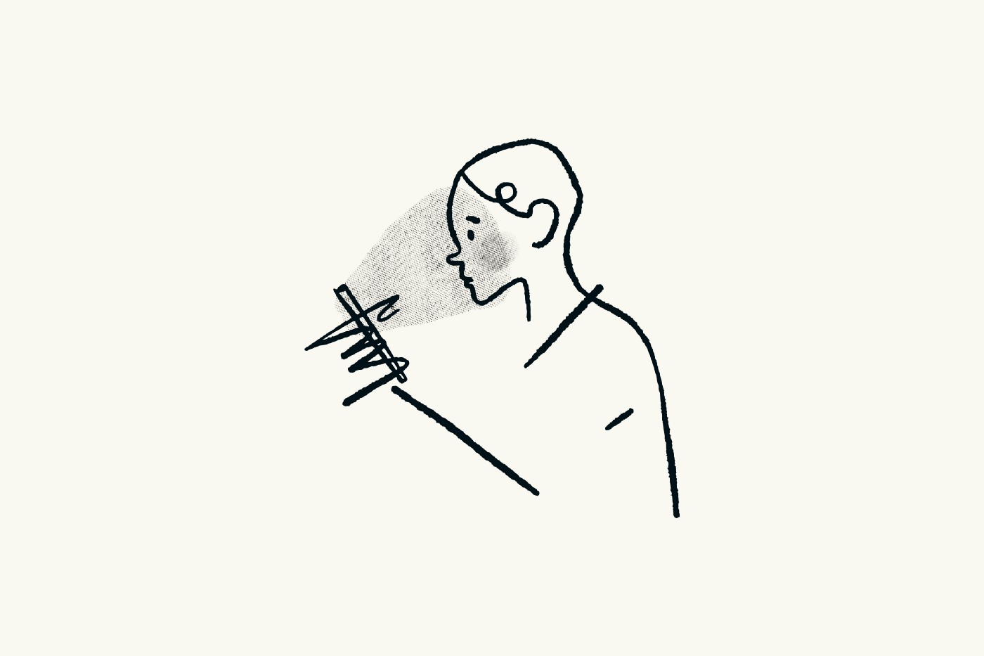 Line drawing of a person looking at their phone