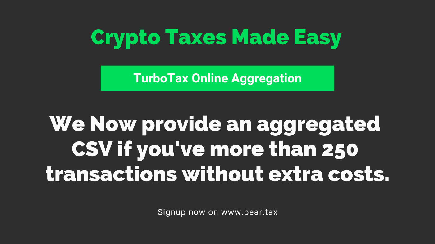 How do you aggregate transactions on TurboTax Online?