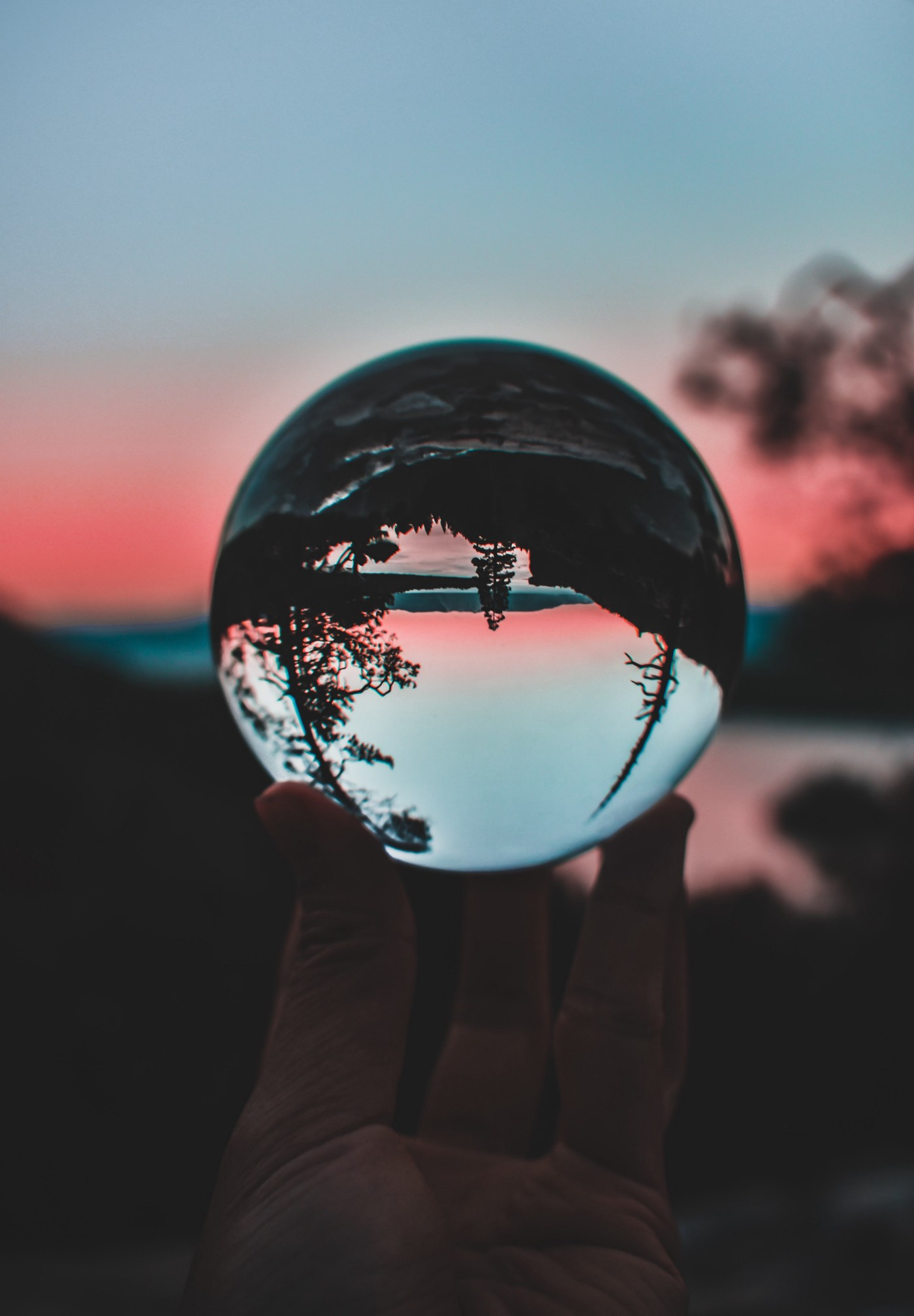 Photo of glass ball reflecting trees and sky upside-down, by Mathilda Khoo on Unsplash