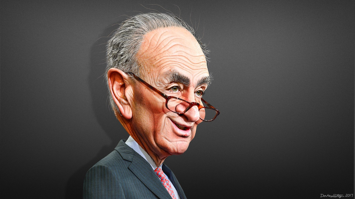 """""""Chuck Schumer—Caricature"""" by DonkeyHotey is licensed under CC BY 2.0"""