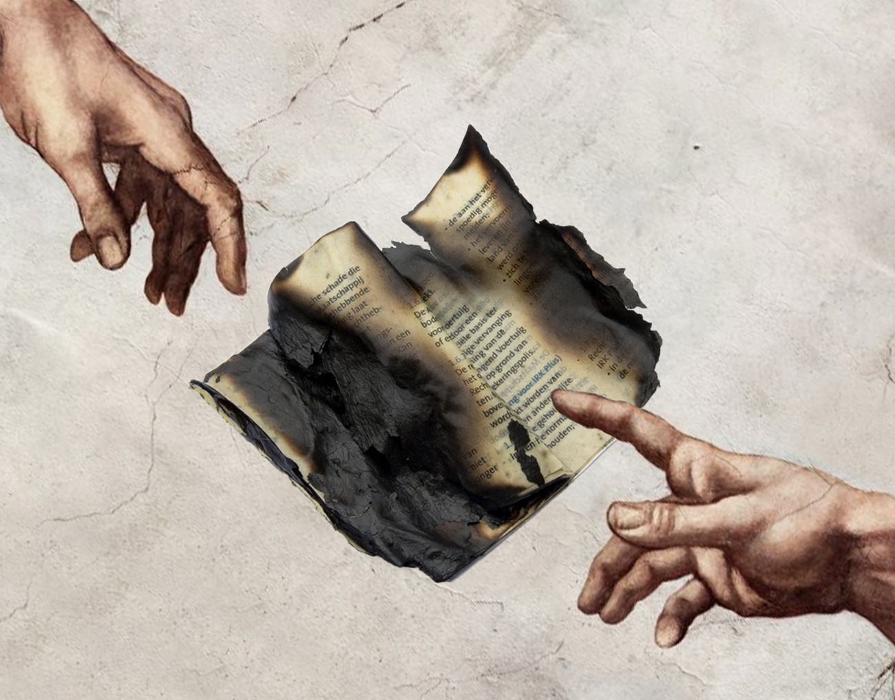 """The two hands from Michelangelo's """"The Creation of Adam"""", with a burnt piece of paper resembling a contract between them."""