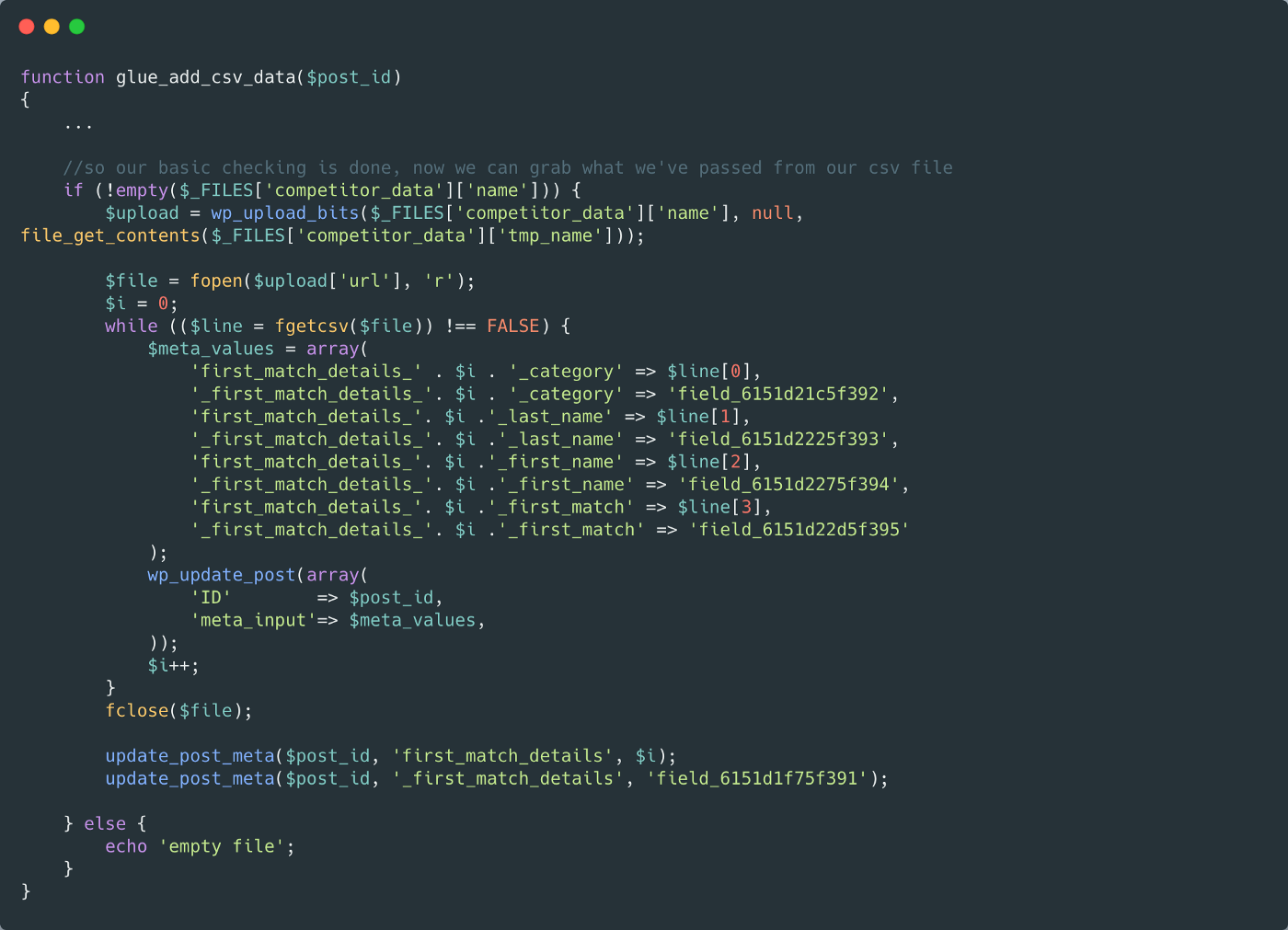 A snippet of code which shows the core of this code—full copyable code at the end of the article
