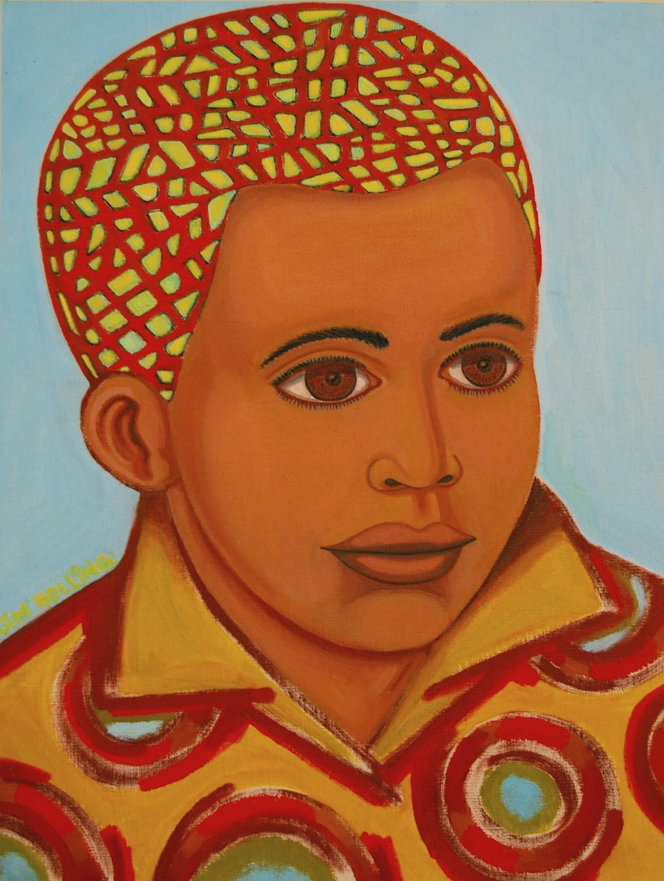 A stylized painting of the author as a young boy wearing a brightly colored yellow-orange shirt with a triangular collar that is covered with large red patterned circles. The boy is African American with a terra cotta skin color against a sky blue background. Instead of black hair, the boy's hair is a cross-hatched and connective network of bright red straight and contoured lines on a bright yellow-green field.