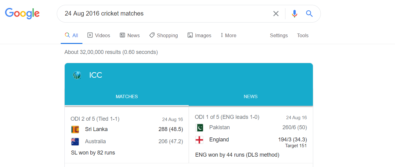 Google Results for the above selected data. Matches!