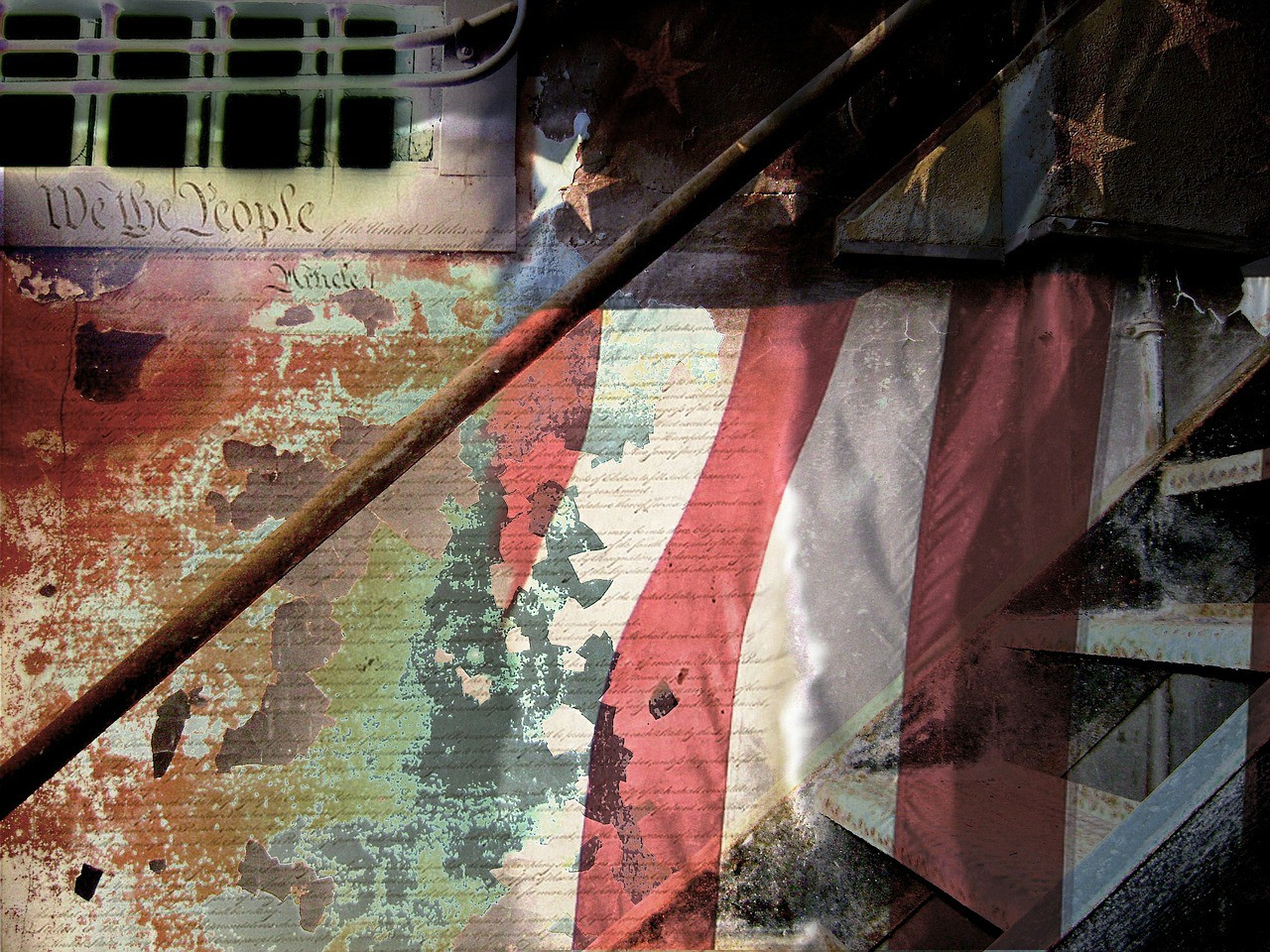 """Photo of American flag partly screened by the words """"We the People"""" and the opening articles of the U.S. Constitution."""