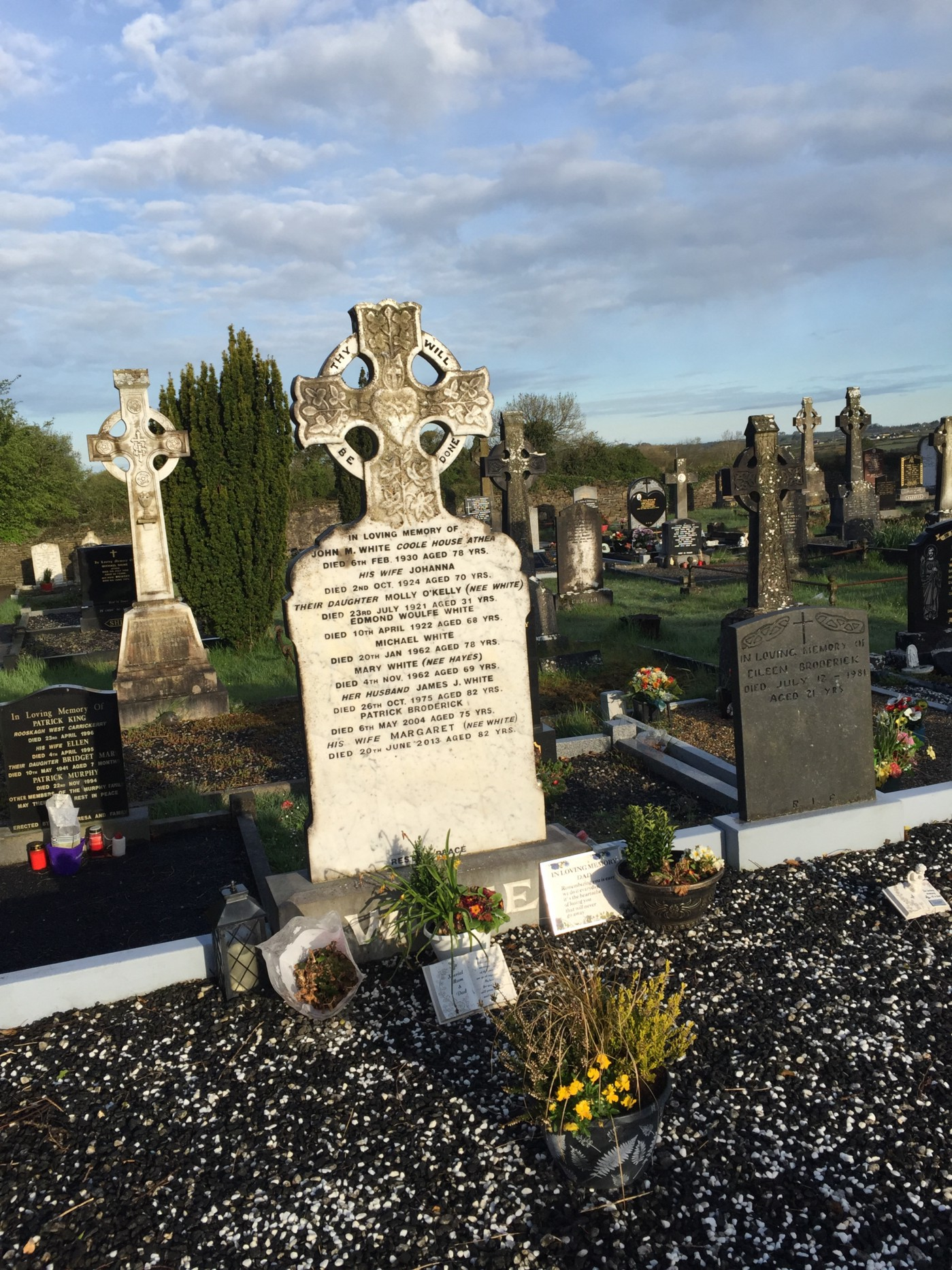 A color image of gravestones at Templeathea graveyard in Co. Limerick, taken in 2018.