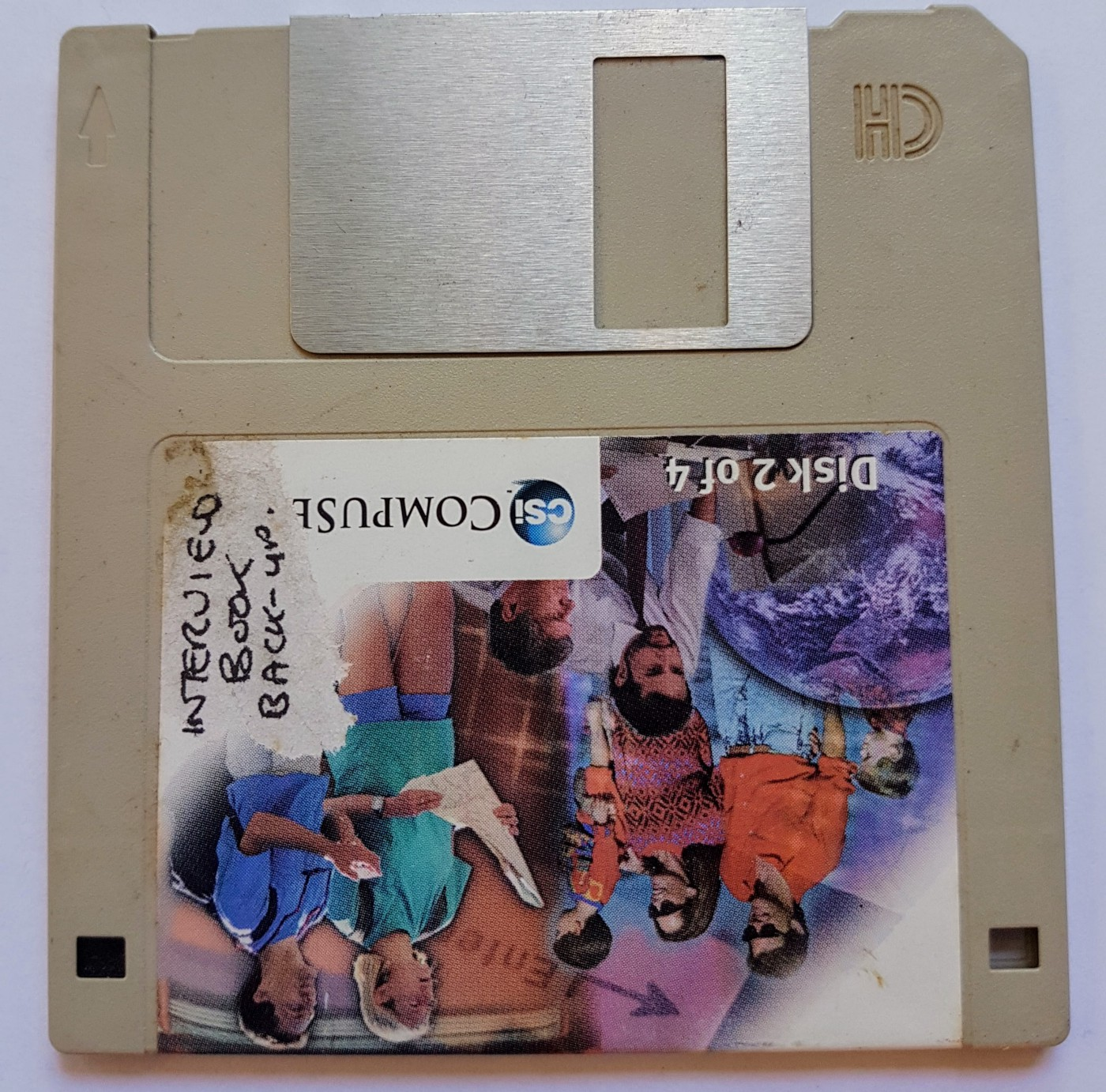 Picture of the floppy disk used for 'Interview book back-up'