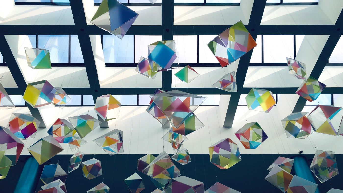 Colorful cubes hanging from ceiling