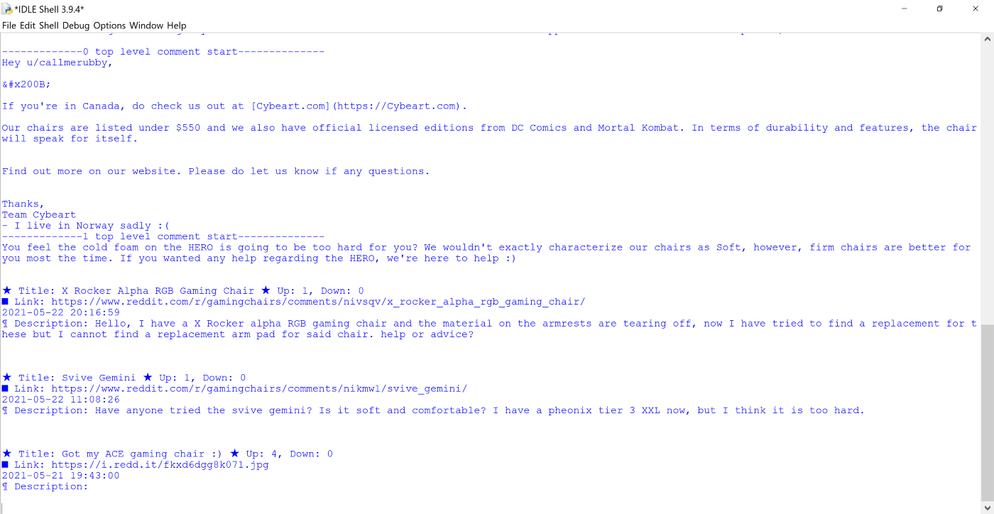 Reddit posts and comments displayed in a text editor.