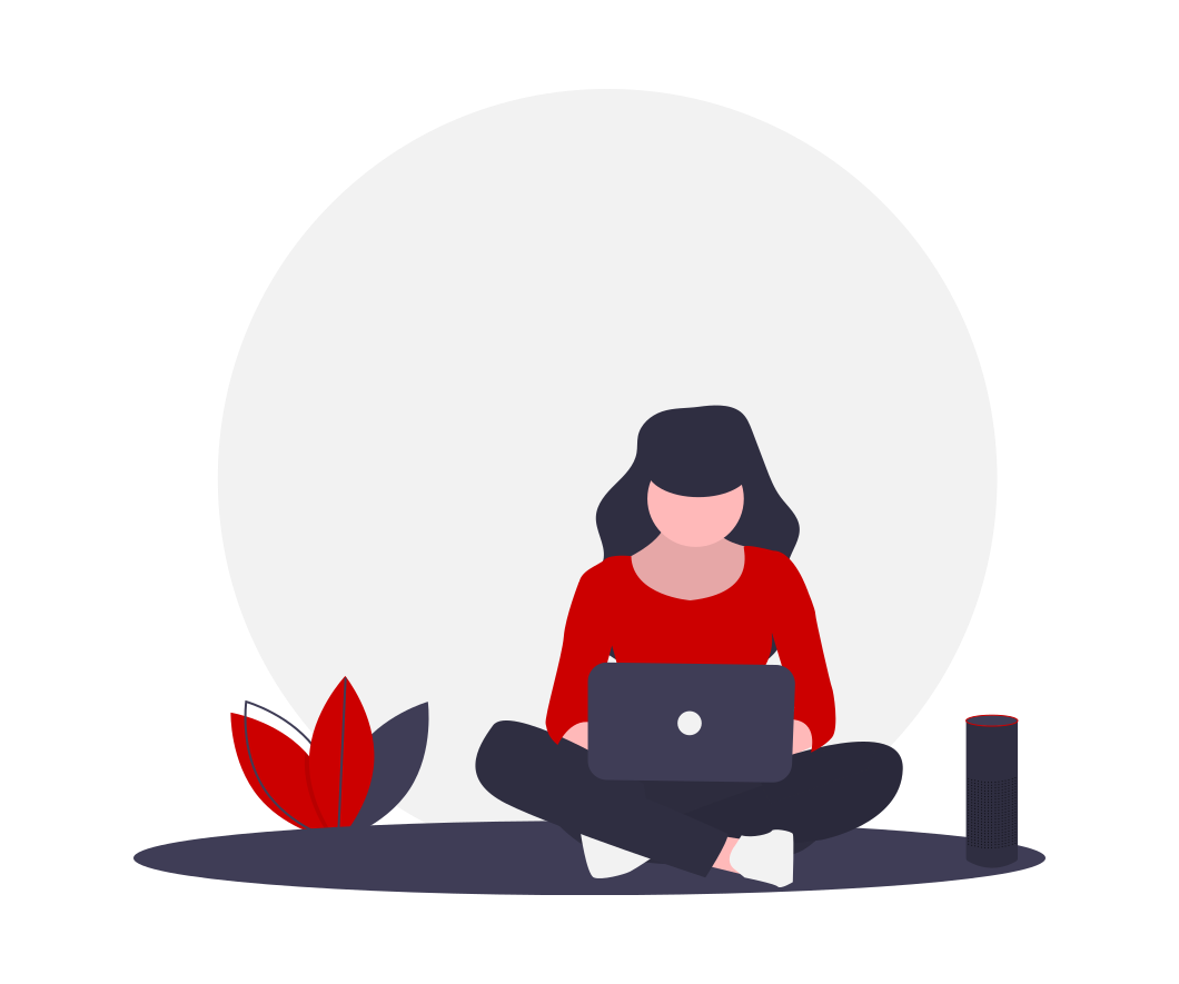 drawing of person sitting cross-legged, working on a laptop
