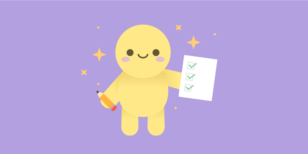 Decorative. A character holding a pencil and checklist