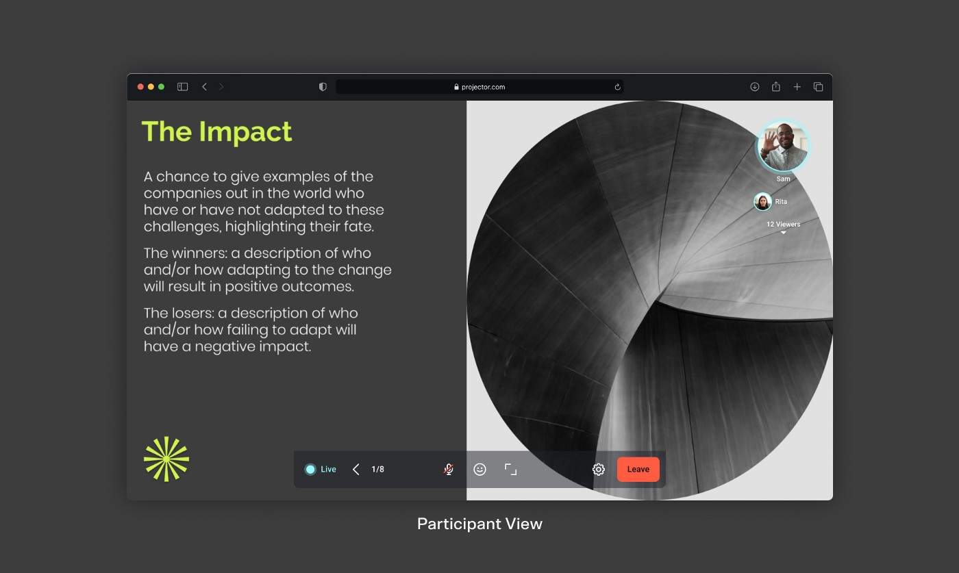 A screenshot of the participant view in a Live Session, where your audience can follow along on their own devices, without viewing a shared screen.