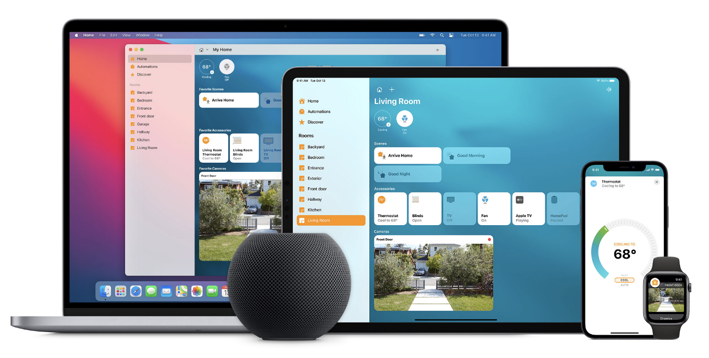 A Macbook Pro, iPad Pro, iPhone, and HomePod Mini displaying the Apple Home app