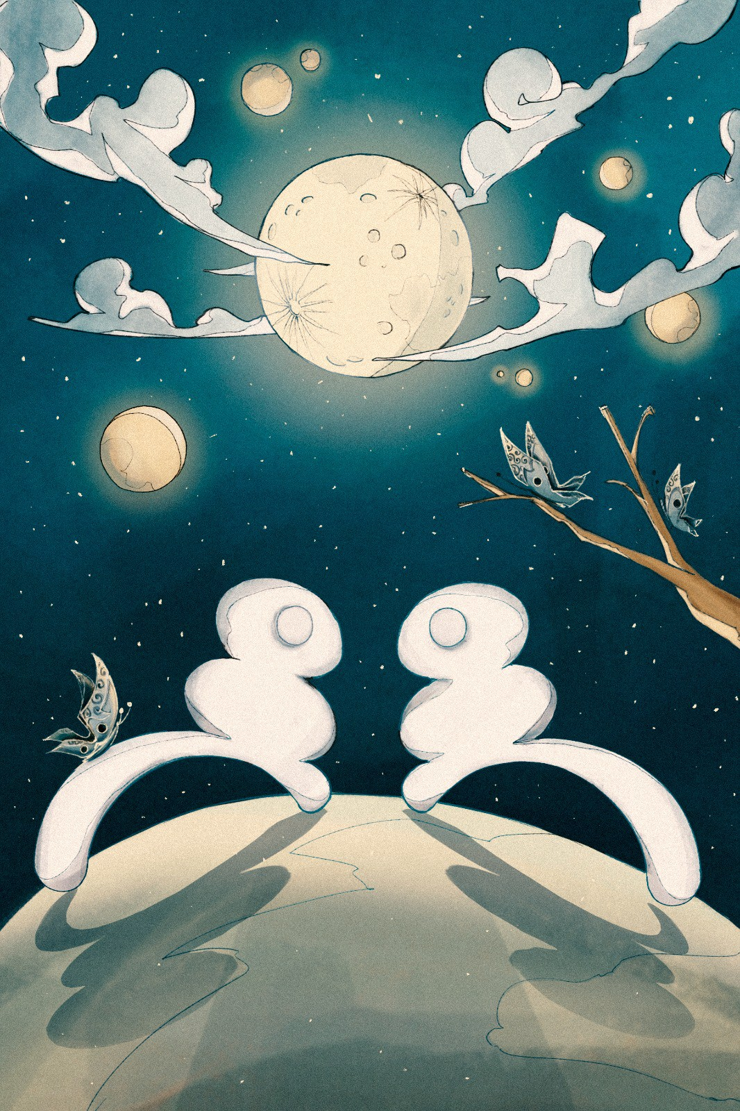 Two magical creatures, called Pitch, meet in a realm of moons and butterflies