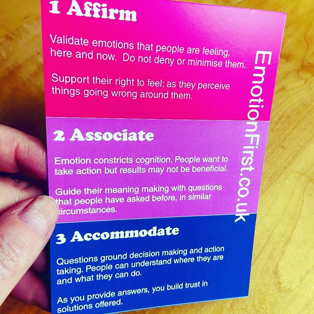 Emotion first postcard with 3 sections—Affirm, Associate and Accommodate