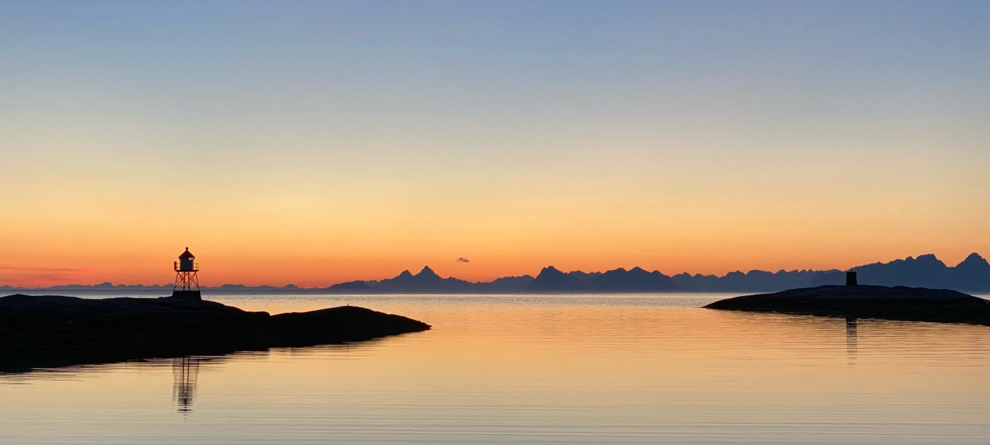 photo of beautiful Lofoten in Norway at dawn.