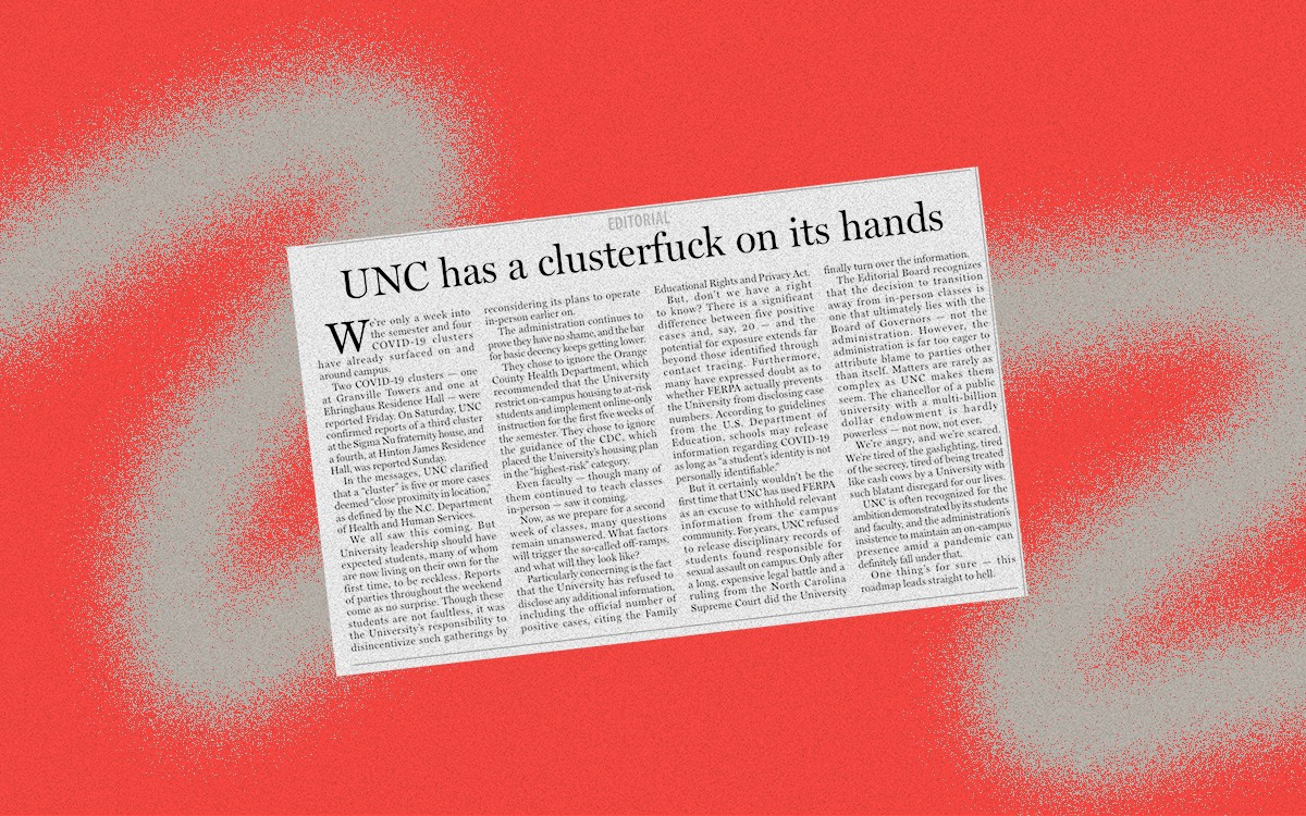 """UNC Chapel Hill student newspaper clipping. Headline is """"UNC has a clusterfuck on its hands"""""""
