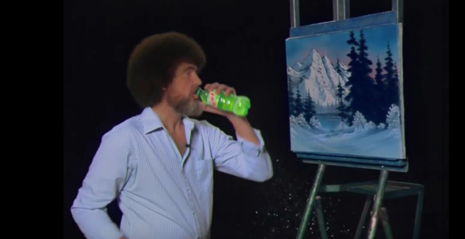 A CGI Bob Ross sipping on some mountain dew