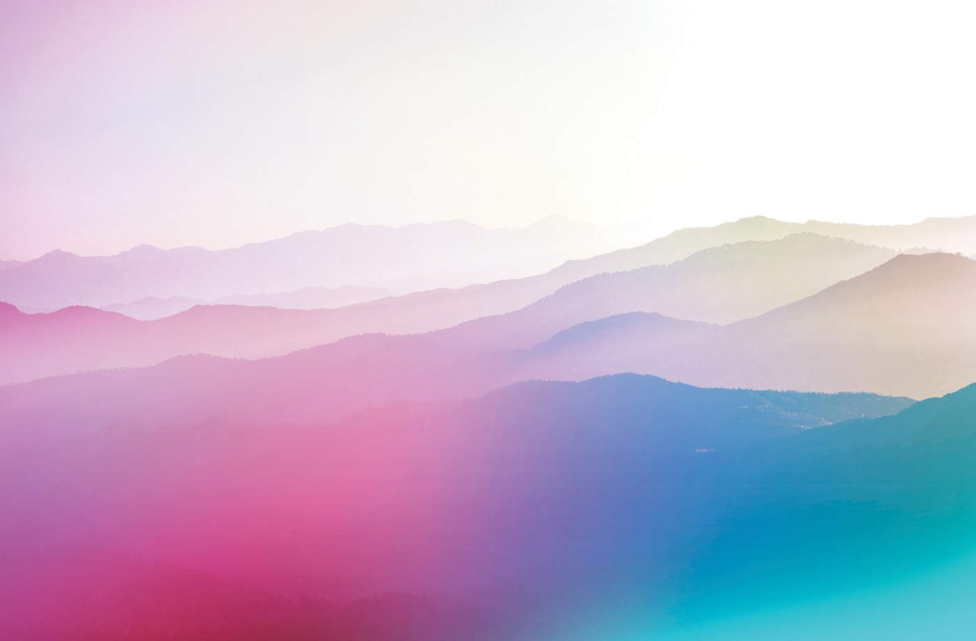 Multicolored gradient image of a mountain range.