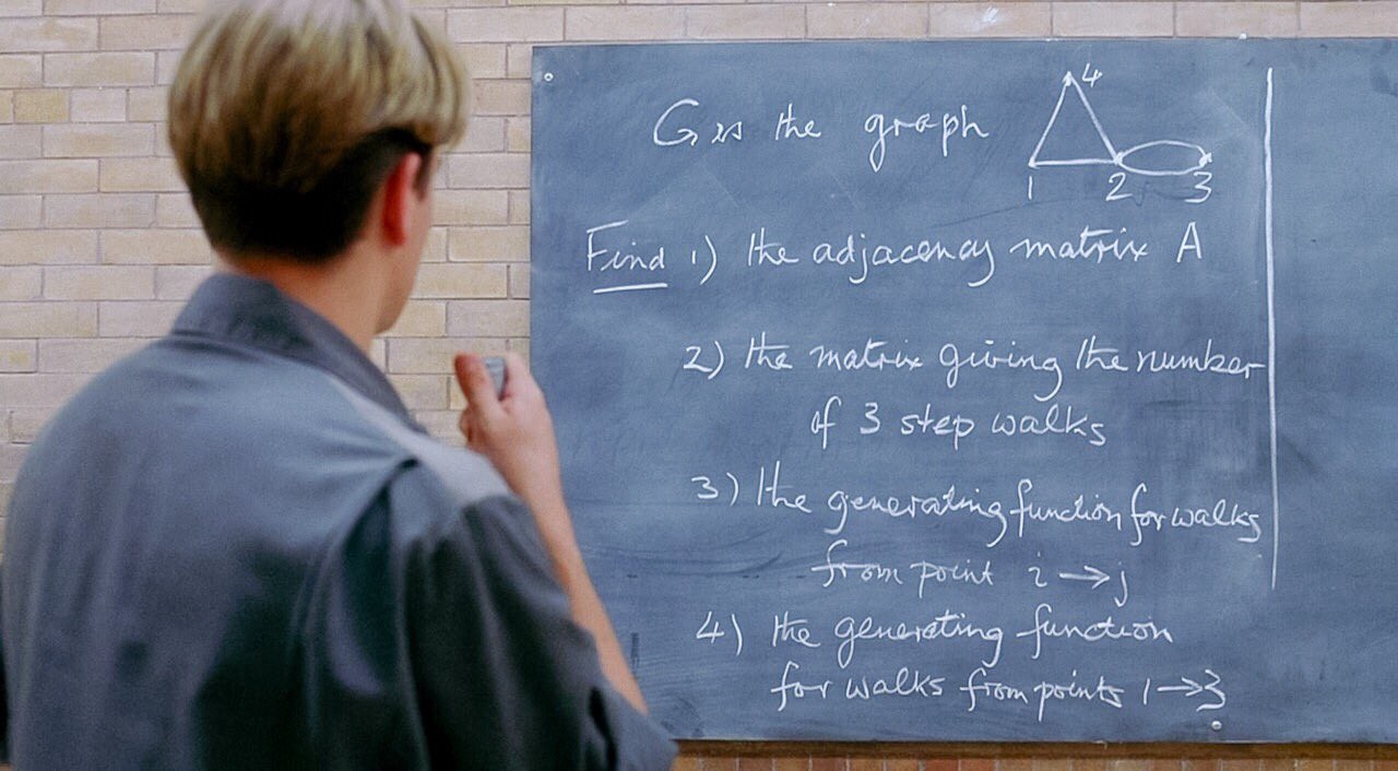"""Scene from the movie """"Good Will Hunting"""" of Will looking at a chalkboard."""