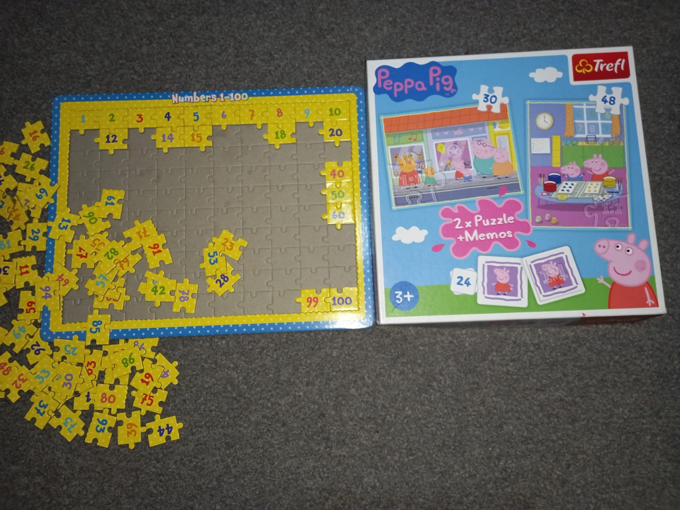 pictures of puzzles (1 to 100 Puzzle game) and peppa pig puzzle