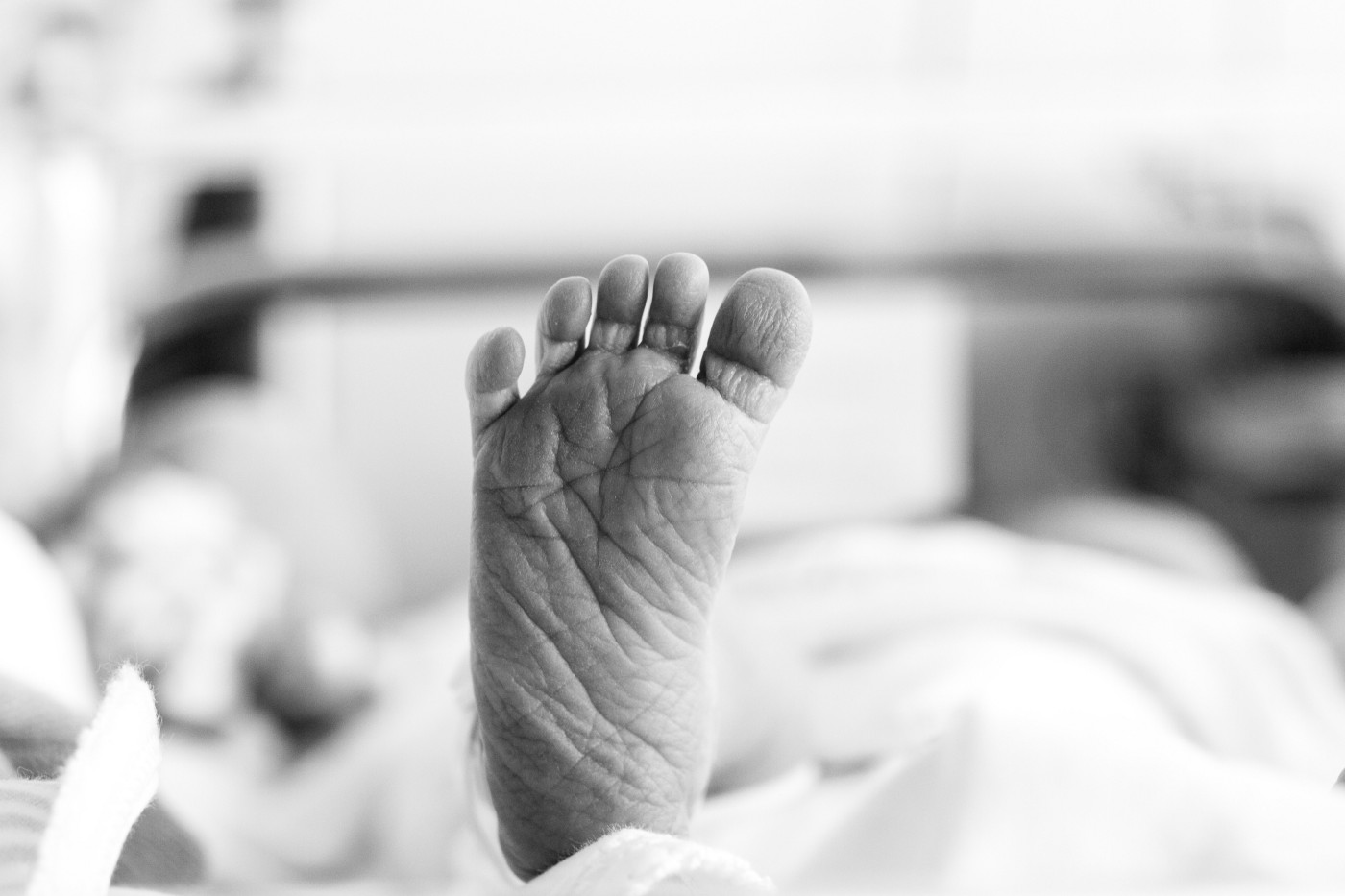 A newborn's foot. Wrinkly and perfect.