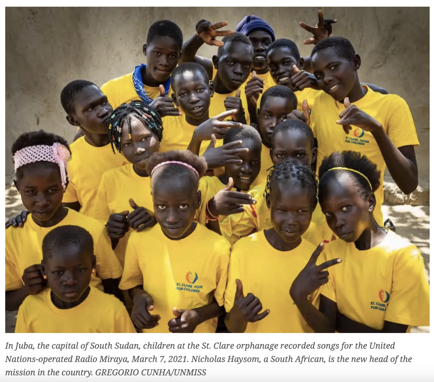 Children of the St Clare Orphanage in Juba, South Sudan