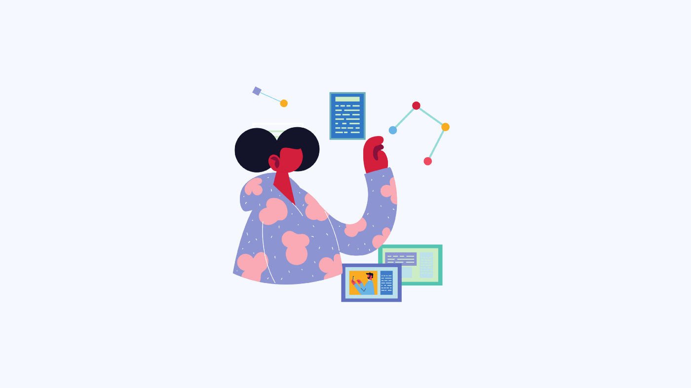 A graphic showing a female presenting person wearing a colourful hoodie manipulatging atoms, documents and program screen meant to depict exploration and learning.